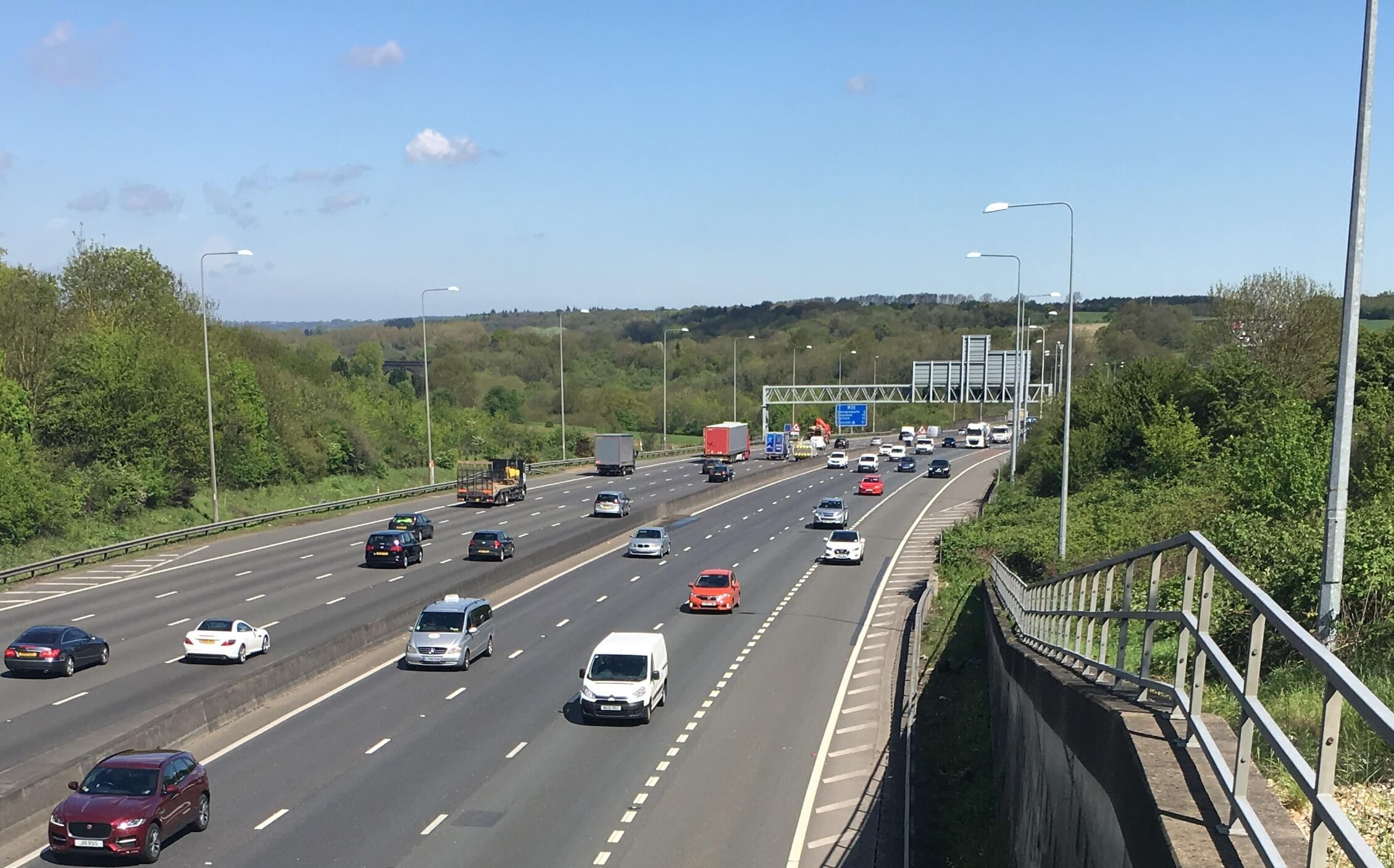 Traffic on the M25 during a survey for a noise impact assessment